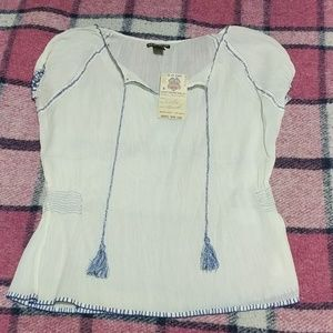 Lucky brand white peasant top